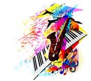 Festiwalu muzyki tło dla przyjęcia, koncerta, jazzu, rockowego festiwalu projekta z saksofonem, muzycznych notatek, treble clef i Fotografia Stock