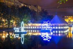 Festiwalu okrąg światło Chistye Prudy (Czyści stawy) Fotografia Royalty Free