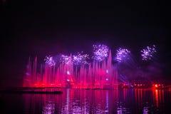 Festiwalu okrąg światło Wioślarski kanał Obraz Royalty Free