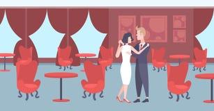 Festlich bewirtende männlich-weibliche Innenkarikatur der Luxushalle des eleganten der Mannfrauenliebhaber des Paartanzens zusamm stock abbildung