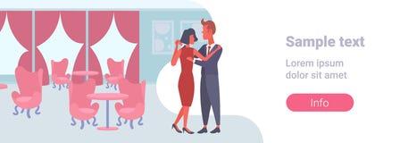 Festlich bewirtende männlich-weibliche Innenkarikatur der Luxushalle des eleganten der Mannfrauenliebhaber des Paartanzens zusamm vektor abbildung