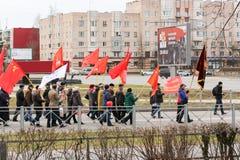 Festlich Maifeiertagsdemonstration in der Straße Lizenzfreies Stockbild