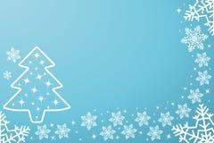 Festliche blaue Karte für neues Jahr oder Weihnachten Fallende von Hand gezeichnete Schneeflocken, mit Raum für Text Auch im core vektor abbildung
