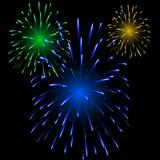 Festliche bunte Feuerwerke Stockbild