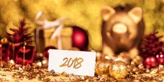 Festliche Dekoration und das Jahr 2018 Lizenzfreie Stockfotografie