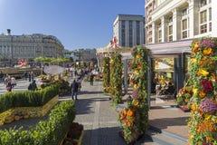 Festliche Dekorationen auf dem Manezhnaya-Quadrat Moskau, Russland Stockfotografie