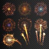 Festliche Feuerwerke der Sammlung von verschiedenen Farben vereinbarten auf einem schwarzen Hintergrund Ausbrüche transparent zur Stockfotografie