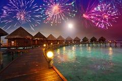 Festliche Feuerwerke des neuen Jahres Lizenzfreies Stockbild