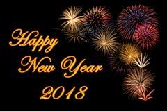 Festliche Feuerwerke während eines guten Rutsch ins Neue Jahr stockbild