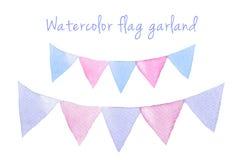 Festliche Flaggen des Aquarellrasters für Ihre Kreativität stock abbildung