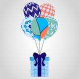 Festliche Fliegenballone und -geschenke Weihnachtsmuster, Vektorillustration Lizenzfreie Stockfotos