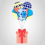 Festliche Fliegenballone und -geschenke Weihnachtsmuster, Vektorillustration Lizenzfreies Stockfoto