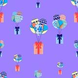 Festliche Fliegenballone und -geschenke Weihnachtsnahtloses Muster, Vektorillustration Lizenzfreie Stockfotos