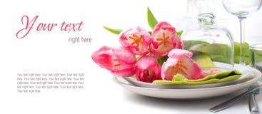 Festliche Frühlingstabelleneinstellung, betriebsbereite Schablone Lizenzfreies Stockbild