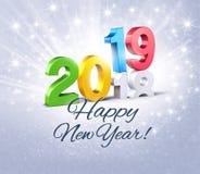 Festliche Grußkarte des guten Rutsch ins Neue Jahr 2019 vektor abbildung