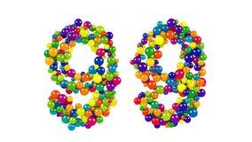 Festliche hell farbige 99 in den mehrfarbigen Bällen Lizenzfreies Stockbild