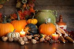 Festliche Herbstvielzahl der Kürbisse und der Kürbise Lizenzfreie Stockfotos