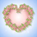 Festliche Karte für eine Hochzeit oder einen Geburtstagskranz von Rosen Lizenzfreies Stockfoto