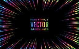 Festliche komische Radialregenbogengeschwindigkeitslinie, schillernde Farbe auf schwarzem Hintergrund, wie Feuerwerken Effektener Stockbild