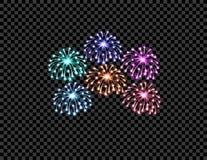 Festliche mehrfarbige Feuerwerke begrüßen, Blitze auf einem transparenten karierten Hintergrund Abbildung Stockfotografie