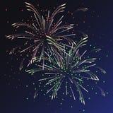 Festliche mehrfarbige Feuerwerke mit Funken Stockbild