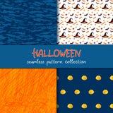 Festliche nahtlose Modellserie Satz von Vektor Halloween-Illustration Flecken und Gekritzelbeschaffenheiten, Feiertagssymbole und Lizenzfreies Stockfoto