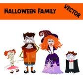 Festliche orange Oktober-Vektor-Halloween-Familien-Illustration lizenzfreie abbildung