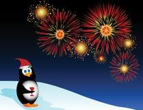 Festliche Pinguin-Feuerwerke Stockbilder