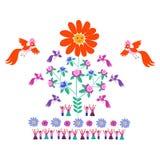 Festliche Schablone für Stickerei Blume - Sun, blühender Baum, Vögel und nette Karikaturleute Stockfotos