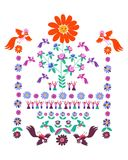 Festliche Schablone für Stickerei Blume - Sun, blühender Baum, Vögel und nette Karikaturleute Lizenzfreie Stockfotos