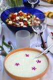 Festliche Tabelle mit tzatziki und buntem Salat Lizenzfreies Stockbild