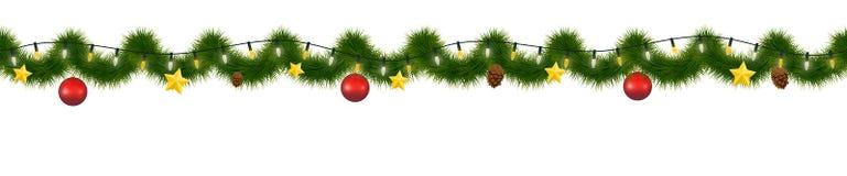 Festliche Weihnachtsgirlande Neues Jahr dekoratives torse, horizontal nahtlose Girlande lizenzfreie abbildung