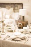 Festlicher Abendtisch der Danksagungspartei Stockfotografie