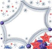 Festlicher Bereich von den Sternen mit Schneeflocken Stockbilder