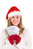 Festlicher blonder darstellender Fan von Euros Stockfoto