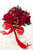Festlicher Blumenstrauß für Weihnachten stockbild