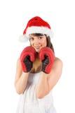 Festlicher Brunette mit Boxhandschuhen Stockfotografie