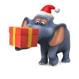 festlicher Elefant 3d, der ein Weihnachtsgeschenk trägt Stockfotos