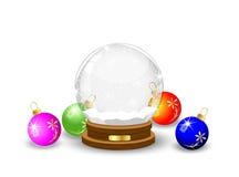 Festlicher Glasball und varicoloured Marmore lizenzfreie abbildung