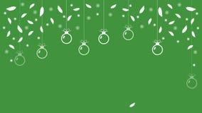 Festlicher grüner Hintergrund mit Ballschneeflocken und -federn Vektor Lizenzfreie Stockbilder