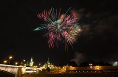Festlicher Gruß über dem Kreml in Moskau Lizenzfreie Stockbilder