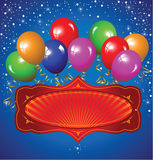 Festlicher Hintergrund mit bunten Ballonen Stockbild