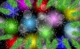 Festlicher Hintergrund mit den Niederlassungen des Weihnachtsbaums Stockbild