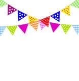 Festlicher Hintergrund mit hellen kleinen Flaggen Stockfoto