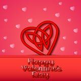 Festlicher Hintergrund mit Herzen der keltischen Webart auf dem D des Valentinsgrußes Stockbild