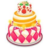 Festlicher Kuchen mit Kerzen, Perlen und Blumen Lizenzfreies Stockbild