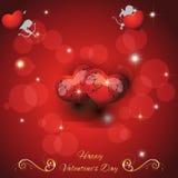 Festlicher roter Hintergrund mit zwei Herzen Stockfotografie