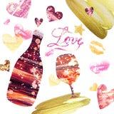 Festlicher Valetines-Tageshintergrund mit Satz handgemalten Elementen Flasche Wein und Weinglas lizenzfreie abbildung