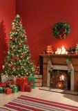 Festlicher Weihnachtsinnenraum lizenzfreies stockbild