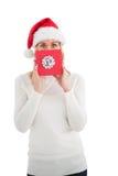 Festliches blondes darstellendes Weihnachtsgeschenk Lizenzfreies Stockfoto